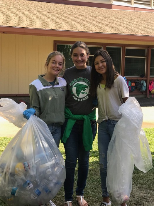 Middle school falcons cleaning up the campus