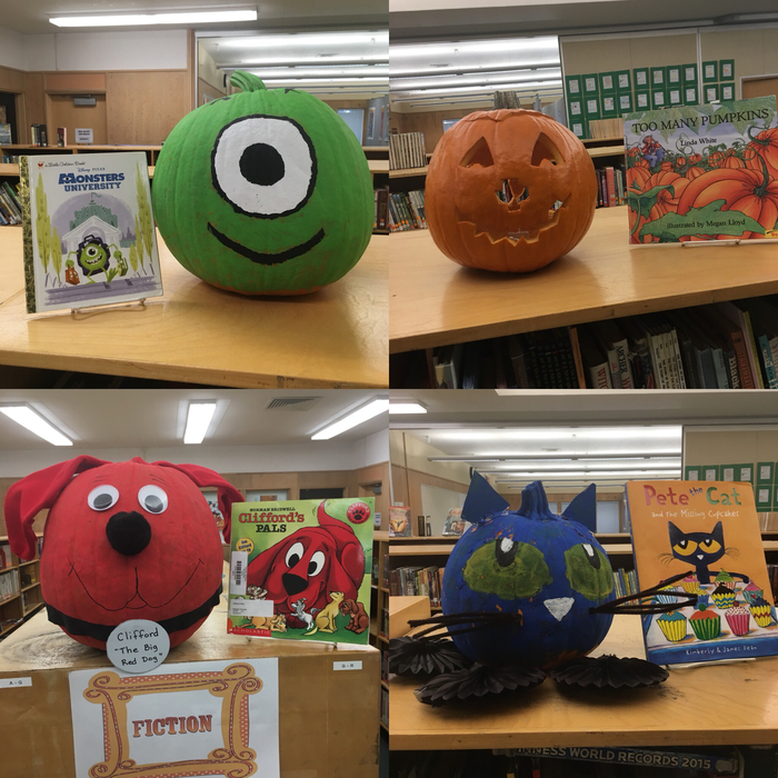 From top left to right we have Mrs. Lillie's Kindergartens Mike from Monsters University, Mrs.Nemmer's TK class with Too Many Pumkins, collectively all 3 first grade classes made Clifford, and Mrs. Howell's Kindergarteners made Pete the Cat.